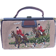 Rare 1950's Needlepoint Fox Hunting Handbag.