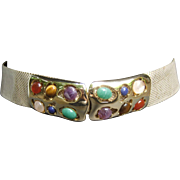 Judith Leiber Cabochon Leather Belt. 1980's.