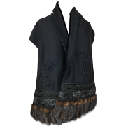 Luxurious Cashmere Stole with Mink Tails. Russian Style.