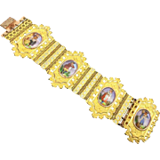 Georgian Bracelet. Porcelain Portraits set in Pinchbeck. C. 1820