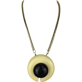 Bold 1970's Geometric Pendant by Lanvin Couture.