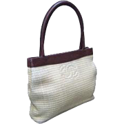 Small Chanel Woven Raffia Leather Trim Handbag.