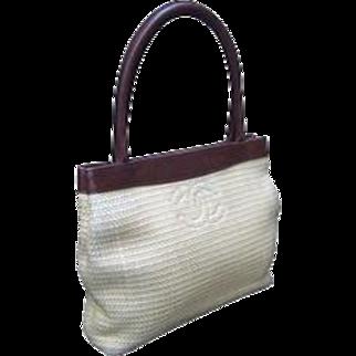 Small Chanel Woven Raffia Leather Trim Handbag.