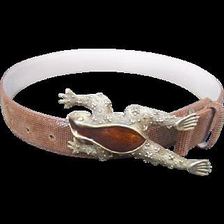 Amazing Vintage Enamel Frog Belt