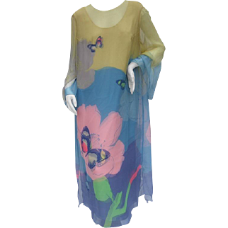 Ethereal Silk Chiffon Floral Butterfly Gown.  1970's.