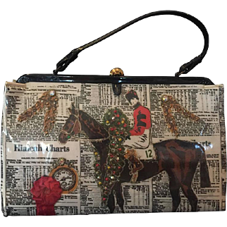 Equestrian Themed Soure Scene Bag. 1950's.