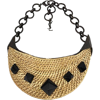Dramatic Yves Saint Laurent Wicker Bib Necklace. Huge. Runway Piece.
