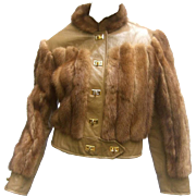 Mink and Leather Eisenhower Style Cropped Jacket. 1970's.