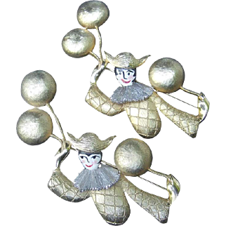 Polcini Clown Pair of Brooches. Huge. 1970's.