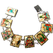 Exotic Chinese Eight Immortals Sterling Link Bracelet. 1940's.
