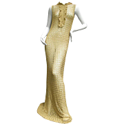Daring 1960's Gold Metallic Crochet Gown. 1960's.