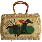 Racing Themed Wicker Handbag. 1960's.