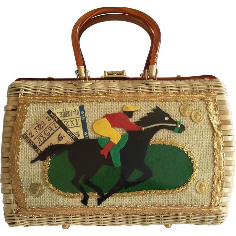 Racing Themed Wicker Handbag 1960 S Annacat Ruby Lane
