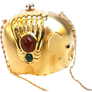 Charming Gilt Metal Jeweled Elephant Evening Bag.