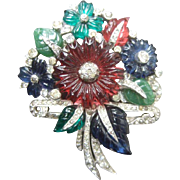Art Deco Carved Glass Flower Bouquet Pin. 1930's.