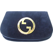 Gucci Midnight Blue Suede Clutch. Rare. 1970's.