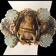 Exotic Tiger's Eye Jeweled Buddha Beetle Cuff Bracelet. 1950's.