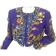 Amazing Jewel Encrusted Purple Silk Bolero Jacket. 1980's