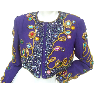 Amazing Jewel Encrusted Purple Silk Bolero Jacket. 1980's
