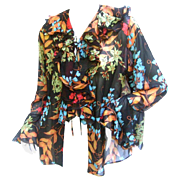 Gorgeous Bessi Silk Flower Sheer Blouse.