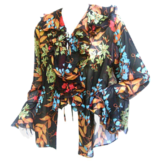 Gorgeous Bessi Silk Flower Sheer Blouse.