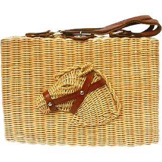 Marcus Brothers Wicker Horse Head Purse. 1960's.