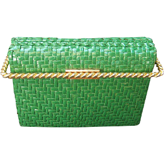 Rodo Italy Emerald Green Gilt Trim Wicker Clutch Bag. 1980's.