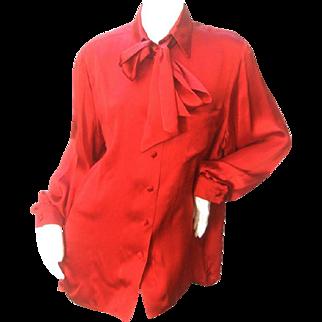 Hermes Paris Scarlet Silk Blouse. 1970s. Size 14-16