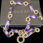 Gucci Cobalt Enamel Link Belt. 1970's.
