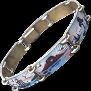Norway Sterling Guilloche Enamel Bracelet.