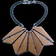 Vintage Armani Leather Statement Necklace. Reversible.