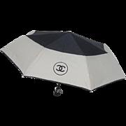 Chanel Black and Ivory Nylon Umbrella in Chanel Box.
