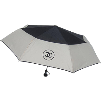 Chanel Black and Ivory Nylon Umbrella in Chanel Box.