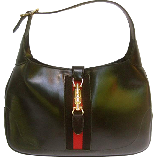Gucci Iconic Black Leather Jackie O Piston Bag. 1970's.