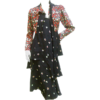 Ossie Clark Moss Crepe Dress and Jacket. Early 1970's.