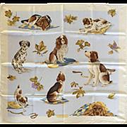 Rare Ferragamo Dog Themed Silk Scarf. 1980's.