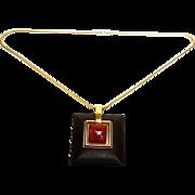 Trifari Mod Cinnabar and Ebony Resin Necklace. Sleek. 1970's.