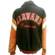 Harvard Leather and Wool Collegiate Jacket. Men's. 1980's.