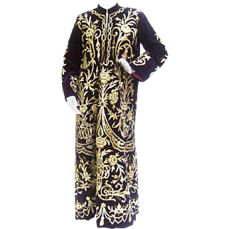 Exquisite Aubergine Velvet Stumpwork Embroidered Metallic Caftan.