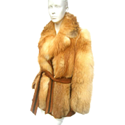 1970's Fox Fur Belted Jacket. Revillon Paris.