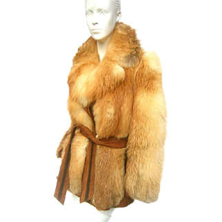 1970's Fox Fur Belted Jacket. Revillon Paris.