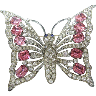 Huge Glittery Butterfly Brooch. Late 1930's.