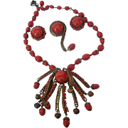 Miriam Haskell Deep Red Glass Beaded Set. Necklace, Pin, and Earrings. 1960's.