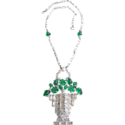Art Deco Floral Basket Necklace. 1930's.