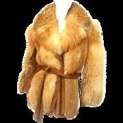 Revillon Paris Plush Fox Fur Belted Jacket. 1970's.