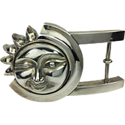 Kielselstein-Cord Giant Sun and Moon Sterling Belt Buckle. 1990's.