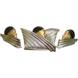 Stylish Face Brooch and Earrings Set. 1980's.