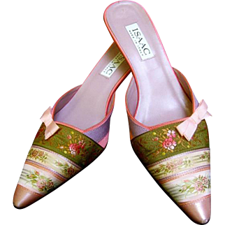 Italian Floral Ribbon Mules by Isaac. U.S. Size: 7.5