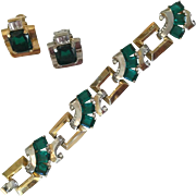 Art Deco Mazer Bracelet and Earring Set. 1930's.