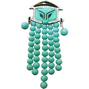 Exotic Glass Beaded Asian Themed Figural Brooch. 1980's.
